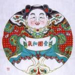 """中国蘇州市にて収集した「版画""""一団和気""""」"""