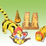 虎の郷土玩具 左から 張子の虎(島根) えぼし寅(愛知) 鞍馬の虎(京都) 神農の虎(大阪)