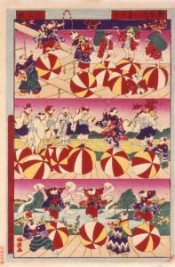 「新版猫の玉乃り」 歌川国政(五代)  明治28(1895)年