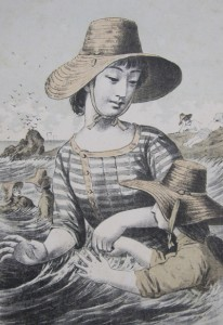 大磯の遊泳 東京/渡辺忠久版「美人十二ヶ月」 1891(明治24)年より