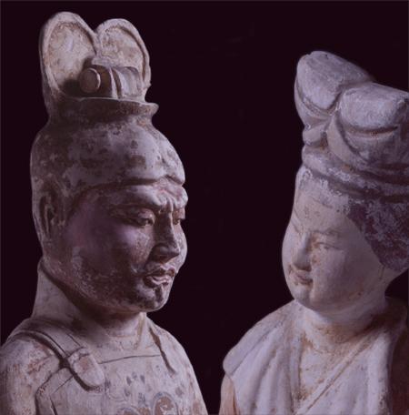 左:加彩文官 右:加彩女子 中国 唐時代