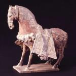 灰陶彩画飾馬 中国 北魏