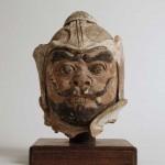 白陶加彩武士俑首部 唐時代