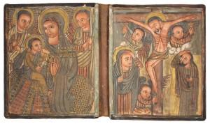 二連イコン「聖母子と十字架のキリスト」 エチオピア