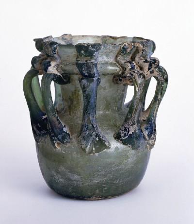 玻璃十耳壺(はりじゅうじこ) 唐(伝河南省洛陽唐墓出土) 7~8世紀 高さ13.6cm