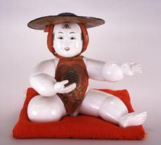 御所人形 笠かぶり       日本、京都 江戸時代末期 高40.5cm