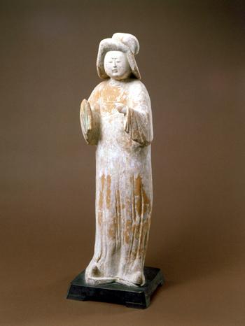 紅胎加彩女子 中国 唐代 高 64.8cm