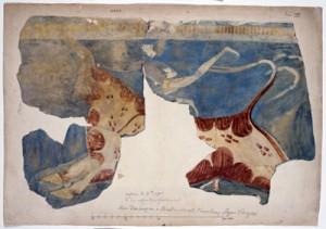 図版XII「ティリンス宮殿の壁画、牛の背で踊る男の図」